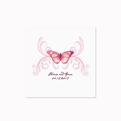 Delicate Butterfly - Fuchsia - White Cocktail Napkin