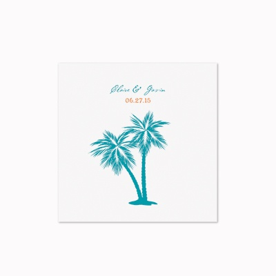Tropical Palms - White Cocktail Napkin