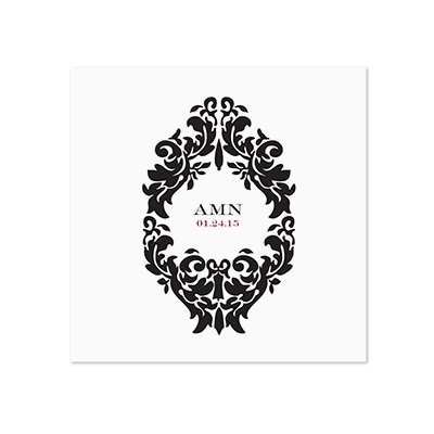 Damask Medallion - White Dinner Napkin
