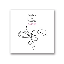 Calligraphy Swirls - White Dinner Napkin