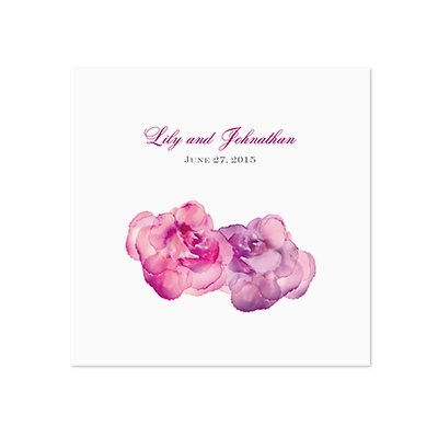 Watercolor Roses - Purple - White Dinner Napkin