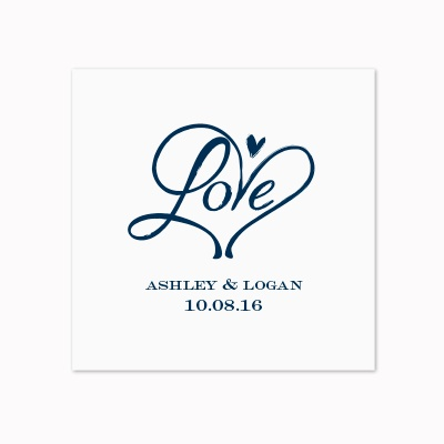 Loving Hearts - White Dinner Napkin