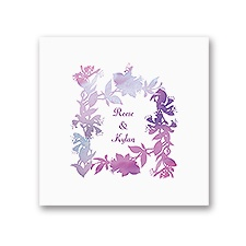 Watercolor Shades - Purple - White Dinner Napkin