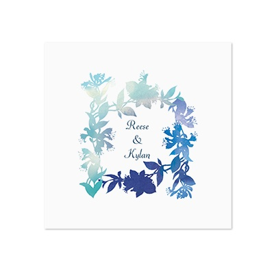 Watercolor Shades - Navy - White Dinner Napkin