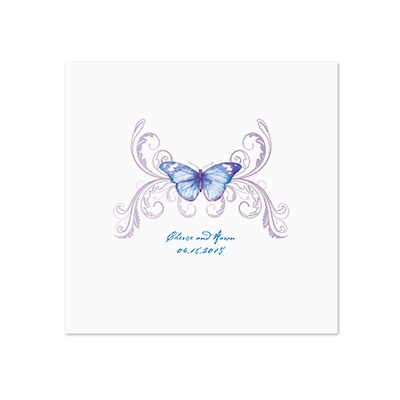 Delicate Butterfly - Blue - White Dinner Napkin