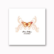 Delicate Butterfly - Orange - White Dinner Napkin