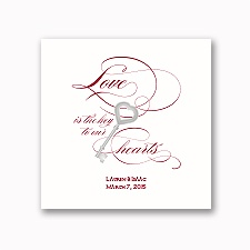 Key to Love - White Dinner Napkin
