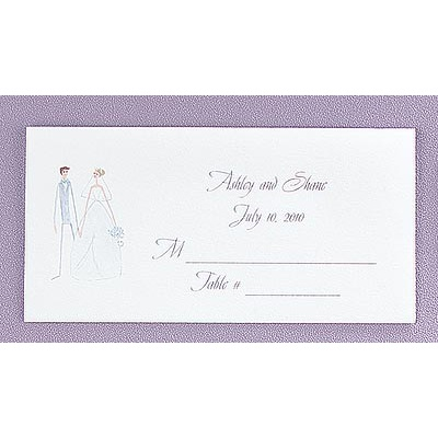 Whimsical Couple Place Cards - Bright White