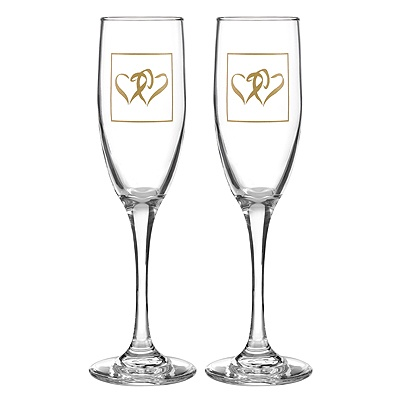 Gold Coupled Hearts Flutes