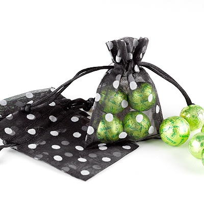 Polka Dot Organza Favor Bags - Black