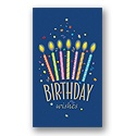Festive Candles on Blue Birthday Card