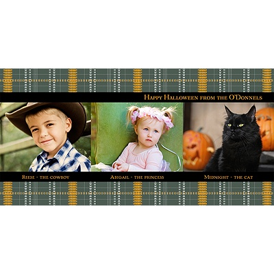 Plaid Wrap Around -- Halloween Photo Card