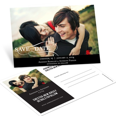 As the Wind Blows Horizontal Photo Save the Date Postcards