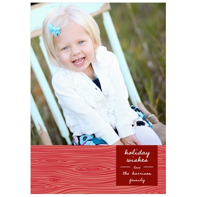 Rustic Panel in Red -- Holiday Photo Cards