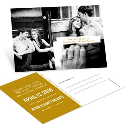 Triple Photo Effect Save the Date Postcards