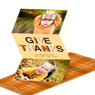 Thankful Sketches Trifold Photo Thanksgiving Card