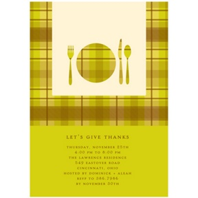 Dinner Time! -- Thanksgiving Invitation in Green