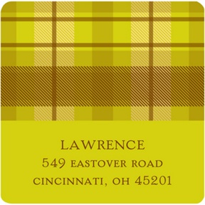 Thanksgiving Plaid -- Thanksgiving Address Label in Green