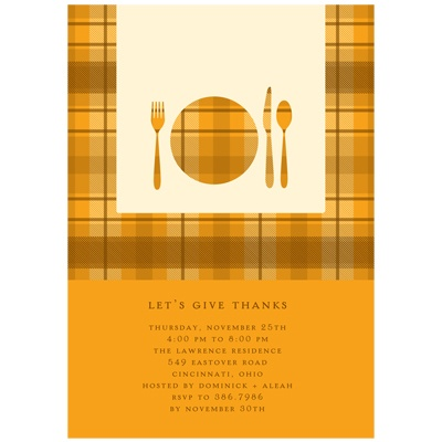 Dinner Time! -- Thanksgiving Invitation in Orange