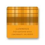 Thanksgiving Plaid -- Thanksgiving Address Label in Orange