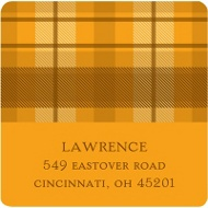 Thanksgiving Plaid Thanksgiving Address Label in Orange