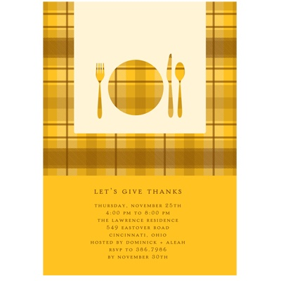Dinner Time! Thanksgiving Invitation in Yellow