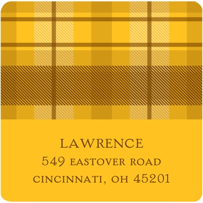 Thanksgiving Plaid Thanksgiving Address Label in Yellow