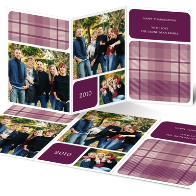 Plaid Triple Threat Thanksgiving Photo Card