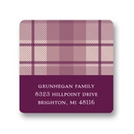 Plum Plaid -- Thanksgiving Address Label