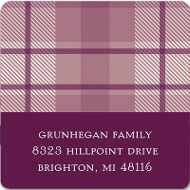 Plum Plaid Thanksgiving Address Label