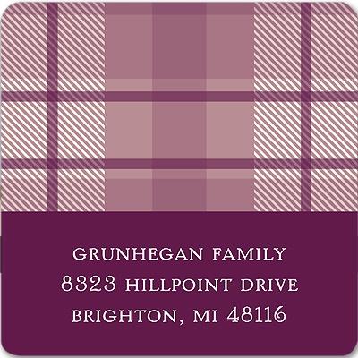 Plum Plaid Thanksgiving Address Label