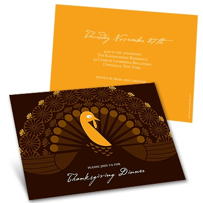 Fanned Turkey Thanksgiving Invitation