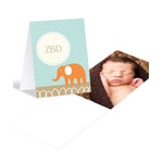 Elephant Monogram in Aqua -- Cute Baby Thank You Cards
