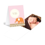 Elephant Monogram in Pink -- Cute Baby Thank You Cards