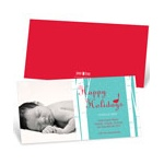 Happy Holidays Bird Chirps in Blue -- Christmas Birth Announcements