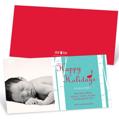 Happy Holidays Bird Chirps in Blue - Christmas Birth Announcements