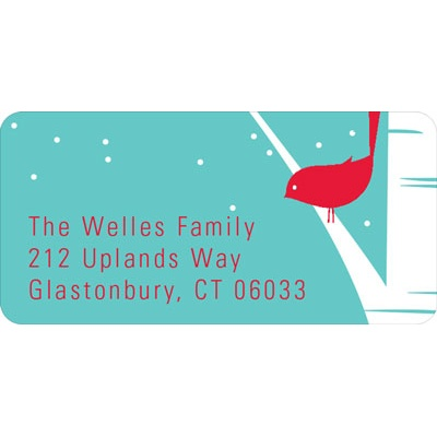 Happy Holidays Bird Chirps in Blue Christmas Address Labels
