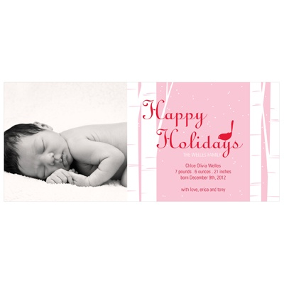 Happy Holidays Bird Chirps in Pink - Christmas Birth Announcements
