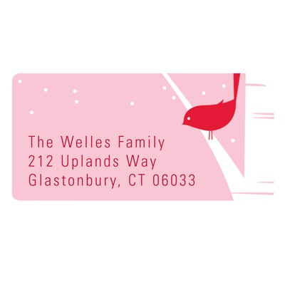 Happy Holidays Bird Chirps in Pink -- Christmas Address Labels