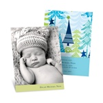 Stylish Treescape in Blue -- Holiday Photo Birth Announcements