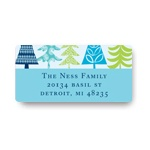 Stylish Treescape in Blue -- Christmas Address Labels