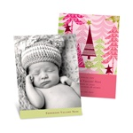 Stylish Treescape in Pink -- Christmas Birth Announcements