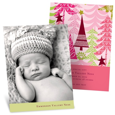 Stylish Treescape in Pink - Christmas Birth Announcements