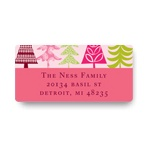 Stylish Treescape in Pink -- Christmas Address Labels