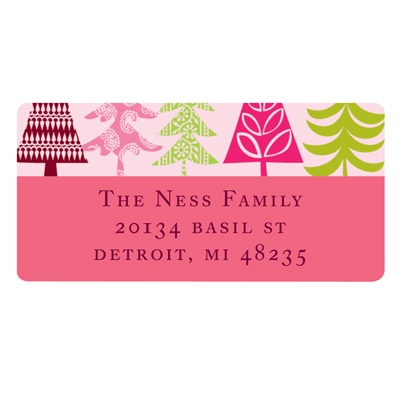 Stylish Treescape in Pink - Christmas Address Labels