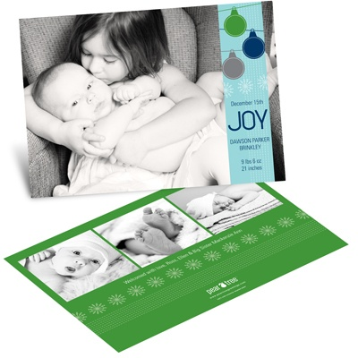 Ornamental Joy in Green -- Horizontal Christmas Birth Announcement