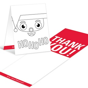 Santa's Surprise Coloring Card -- Christmas Thank You Cards