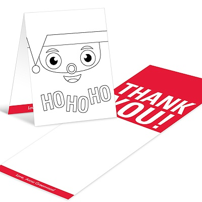 Santa's Surprise Coloring Card Christmas Thank You Cards