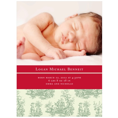 Newborn Toile Memories -- Christmas Photo Birth Announcements