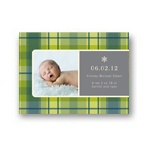 Playful Plaid in Green -- Christmas Birth Announcements